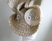 Taupe and Silver hand  sculpted  Straw  Hat,  Handmade Millinery by Natalilouise