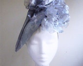 Dove Grey Dipped Sinemay Headpiece- Handmade Millinery by Natalilouise Millinery