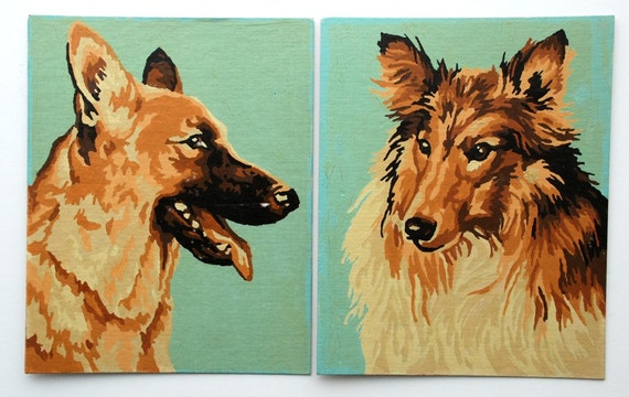 Vintage Paint by Number German Shepherd and Collie Dogs