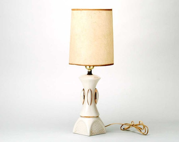 SALE Vintage Small  Cream and Gold Ceramic  Mid Century Lamp