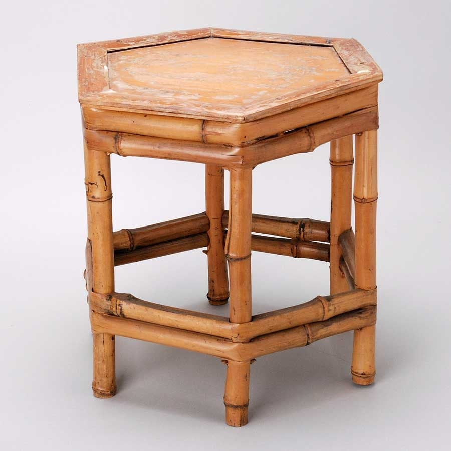 Bamboo Plant On Table: Vintage Bamboo Hexagonal Small Table Or Plant Stand
