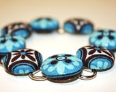 Annabelle's Cornflower Blue Coverd Button Bracelet