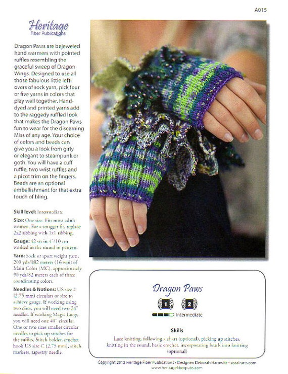 Dragon Gloves Knitting Pattern : Knitting Pattern Fingerless Gloves Hand Warmers Dragon Paws