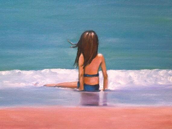 original oil painting-- beach scene-- grace -- traciebrownart