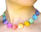 Rainbow Choker necklace - adjustable choker - shell choker