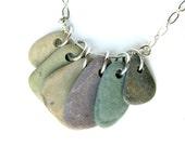 Raw stone jewelry - river rock necklace - Spring Rain