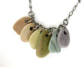 Beach stone necklace - natural jewelry - rainbow river rocks - Rock Collections, Rainbow - 490