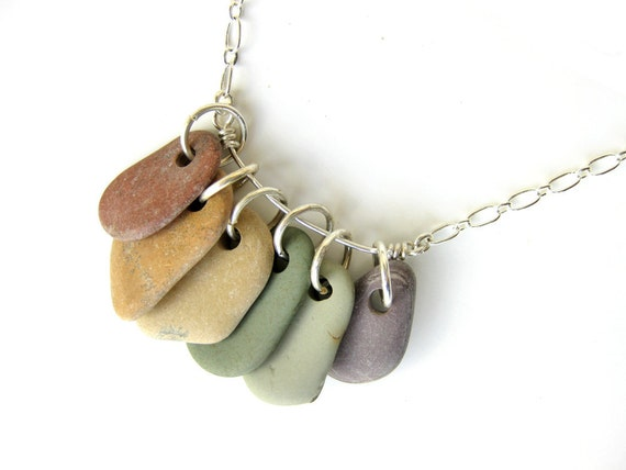 Natural stone jewelry - rainbow necklace - river rocks - Rock Collections, Rainbow