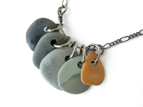 natural jewelry river stone necklace rock collection