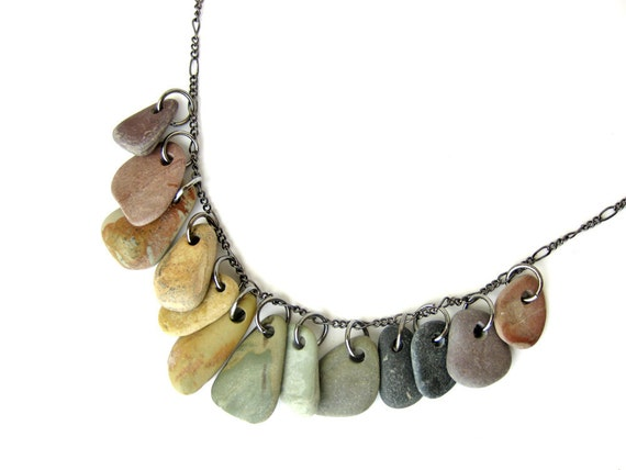 River rock jewelry rainbow necklace rock collections for How to make rock jewelry