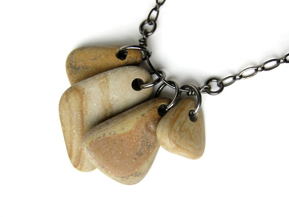 50% off - River stone necklace on SALE. Faux Bois Triangles