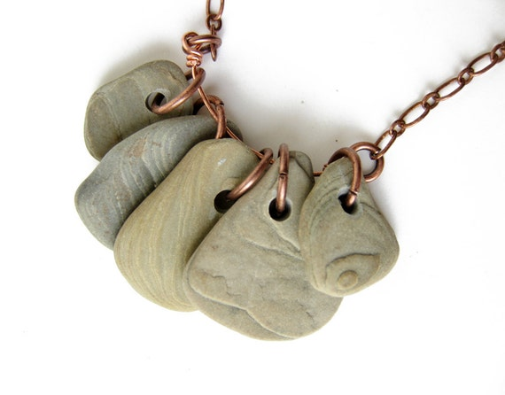 """Beach stone necklace """"Topographic Rock Collection, no.1"""""""