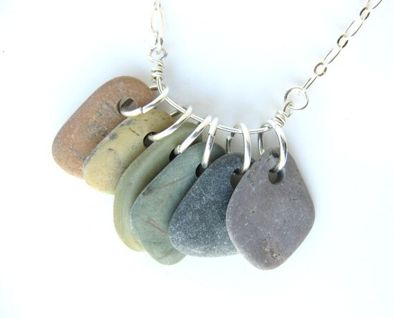River rock necklace - rainbow jewelry - Rainbow Rocks