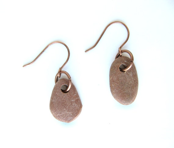 Small, natural stone earrings. River rock jewelry. Rust Red and Copper Pebble Earrings