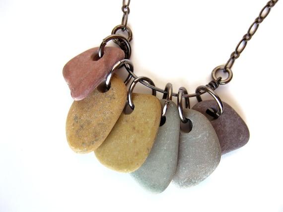 River rock necklace - handmade in wisconsin - Rainbow Rocks