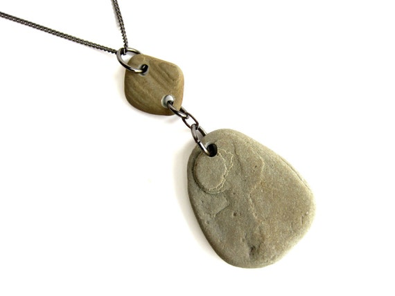 Geology necklace - handmade river rock jewelry - Topographic Elegance Necklace - 356