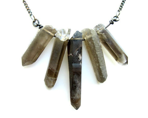 Raw crystal necklace - natural smoky quartz crystal points, oxidized sterling silver - Crystal Fan - 399