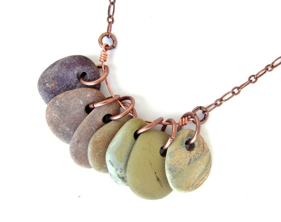 Ombre jewelry SALE - Desert Canyon Rock Collection Necklace on Copper.