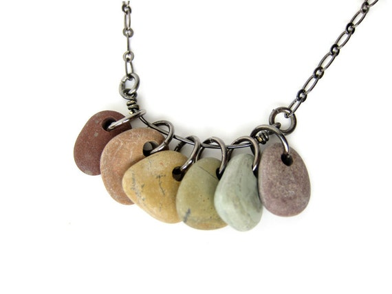"Rainbow river rock necklace, handmade from natural stones. ""Rainbow Rocks"" 484"