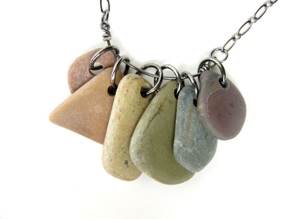 "Rainbow stone necklace.  Natural stone jewelry handmade by Jenny Hoople. ""Rainbow Rocks Necklace""  499"