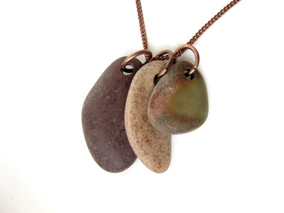 Natural jewelry - river stone necklace - Vineyard- 530