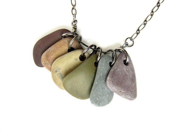 Beach stone necklace - natural jewelry - rainbow river rocks - Rock Collections, Rainbow - 494