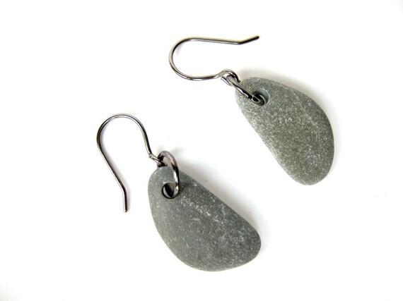 River rock jewelry - natural earrings - Grey and Gunmetal Pebble Earrings - 514