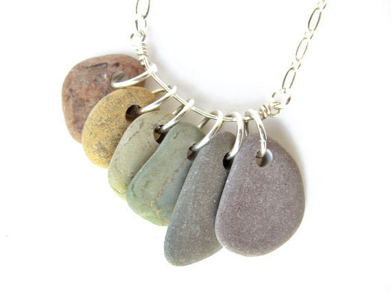 Rainbow Rocks Necklace - handmade natural jewelry on silver plate.