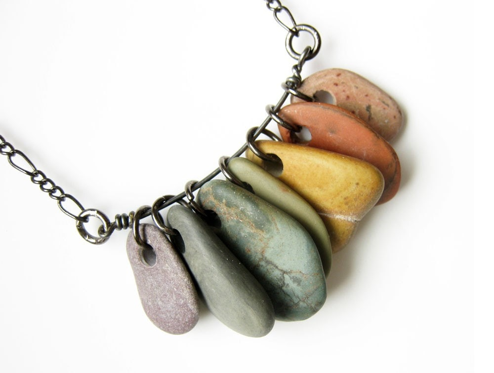 Marble Stone Jewelry : Natural stone jewelry rainbow necklace rock collections