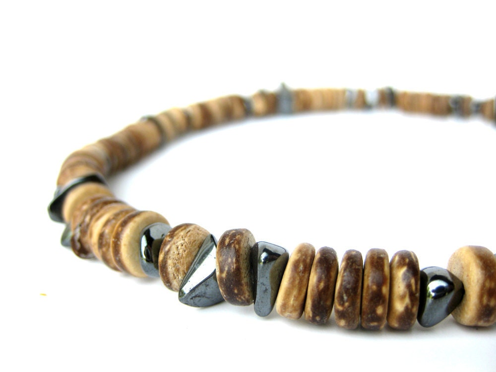 wood necklace for hematite and wood bead necklace