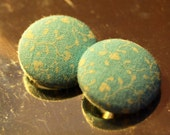 Light blue with white Hearts on Vines - 7\/8 inch fabric covered buttons - set of 2