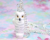 Hedwig the Owl Pendant made from White LEGO (r) Owl and Swarovski Crystal - 24 inch Lead-Free Ball Chain