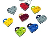 Crazy Heart Necklace, made from LEGO (r) Heart Pieces - You Choose Colors