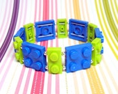 Blue and Lime Geek Bracelet - made from New LEGO® Pieces