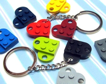Heart Key Chain made from Genuine LEGO ® Heart Pieces - You Choose Color - ONE KEYCHAIN