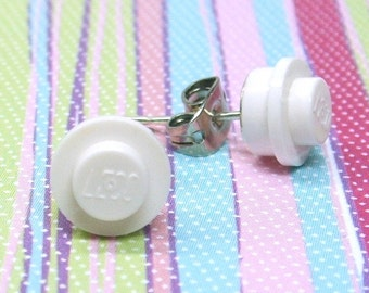 Little White Stud Earrings made from Genuine LEGO ® Plates
