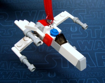 X-Wing Starfighter Star Wars Christmas Ornament made from Genuine New LEGO (r) Pieces