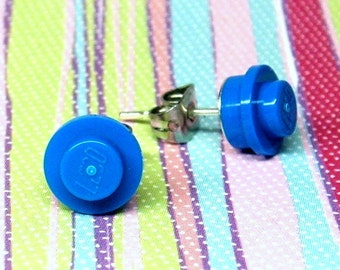 Little Blue Stud Earrings made from LEGO® Plates