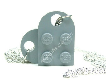 Light Bluish Gray Heart Necklace made from LEGO (r) Heart Pieces