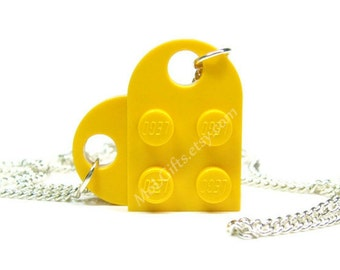 Sunshine Yellow Heart Necklace made from LEGO (r) Heart Pieces