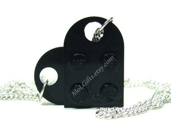 Black Heart Necklace made from LEGO (r) Heart Pieces