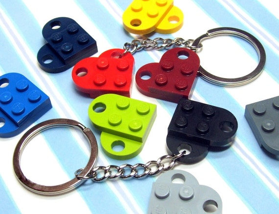 Heart Key Chain made from Genuine LEGO (r) Heart Pieces - You Choose Color - ONE KEYCHAIN