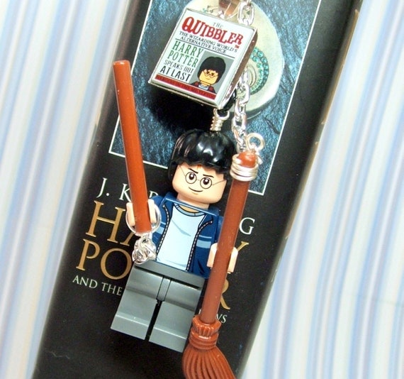 Harry Potter Quibbler Bookmark, made with Genuine LEGO (r) Pieces - Original Design in Silver-Tone