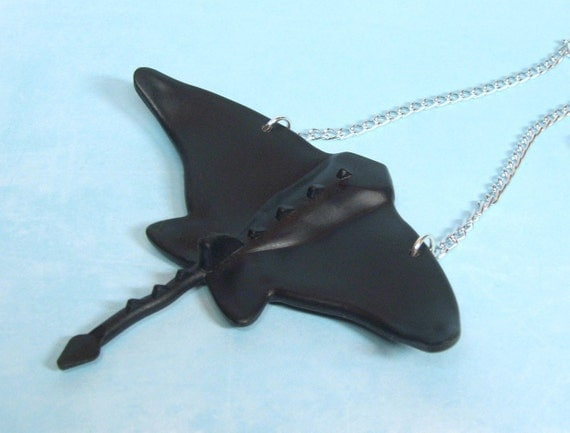 SALE - Black Manta Ray Necklace made from Genuine Lego Pieces