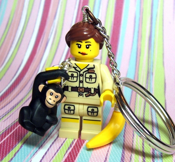Zookeeper and Monkey Key Chain - made from Genuine Series 5 Lego Minifig