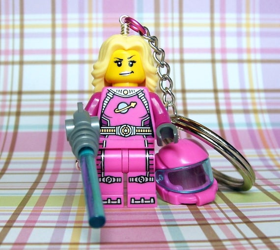Space Girl Keychain - made from Series 6 Intergalactic Girl LEGO (r) Minifigure