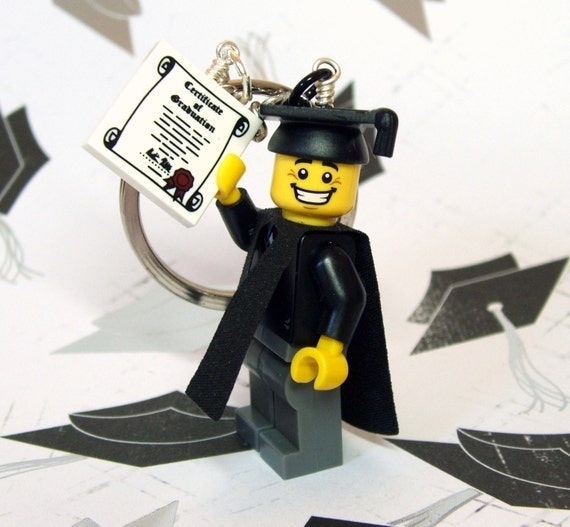 Graduate Key Chain - made from Genuine LEGO (r) Series 5 Minifig