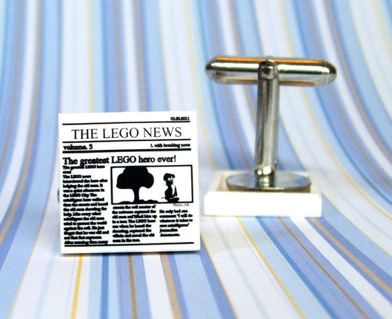 "Cufflinks, ""The Lego News"", Superhero Edition made from Genuine Star Wars LEGO (r) Pieces"