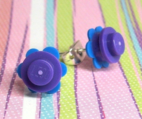 Crazy Daisy Stud Earrings made from LEGO (r) Pieces - Purple and Blue
