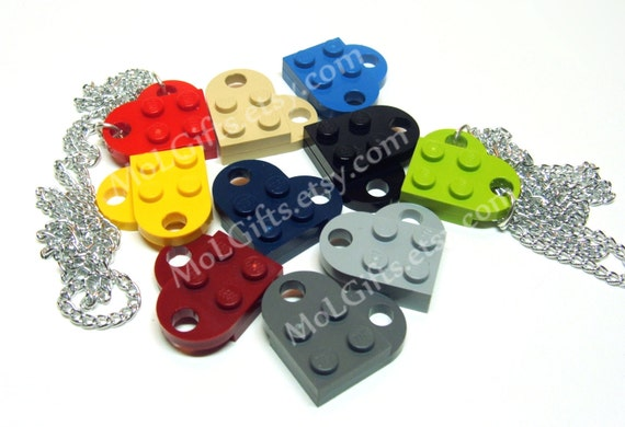 Heart Necklace, made from LEGO (r) Heart Pieces - You Choose Colors